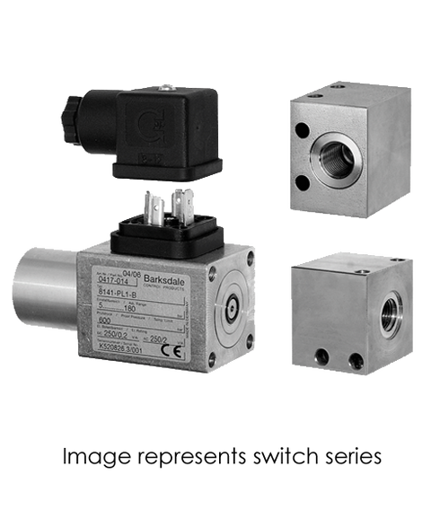 Barksdale Series 8000 Compact Pressure Switch, Single Setpoint, 43 to 2610 PSI, 8AD2MB