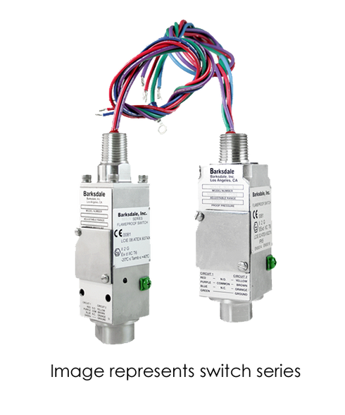 Barksdale Series 9681X Explosion Proof Compact Switch, Single Setpoint, 25 to 300 PSI, 9681X-2CC-3-EKW120