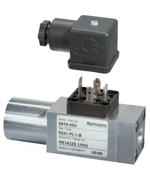 Barksdale Series 9000 Compact Pressure Switch, Single Setpoint, 220 to 2900 PSI, 9EB1TV