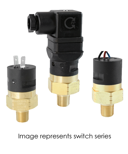 Barksdale Series CSP Compact Pressure Switch, Single Setpoint, 75 PSI Rising Factory Preset CSP2-13-14B-75R