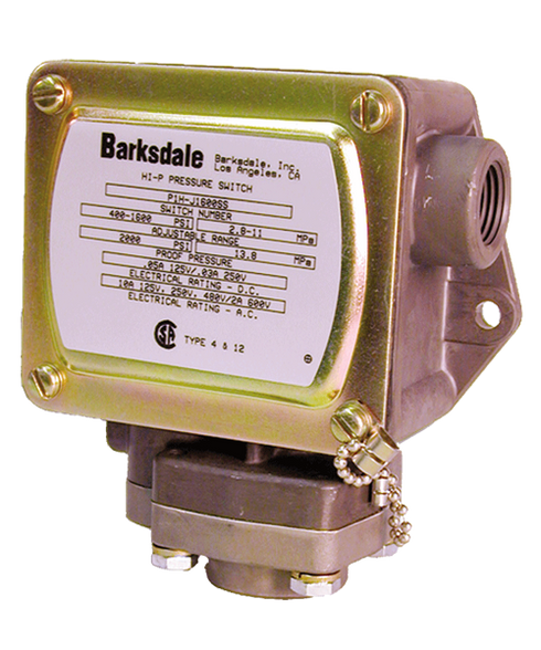 Barksdale Series P1H Dia-seal Piston Pressure Switch, Housed, Single Setpoint, 25 to 600 PSI, P1H-H600-V