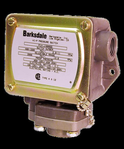 Barksdale Series P1H Dia-seal Piston Pressure Switch, Housed, Single Setpoint, 25 to 600 PSI, P1H-J600-P2