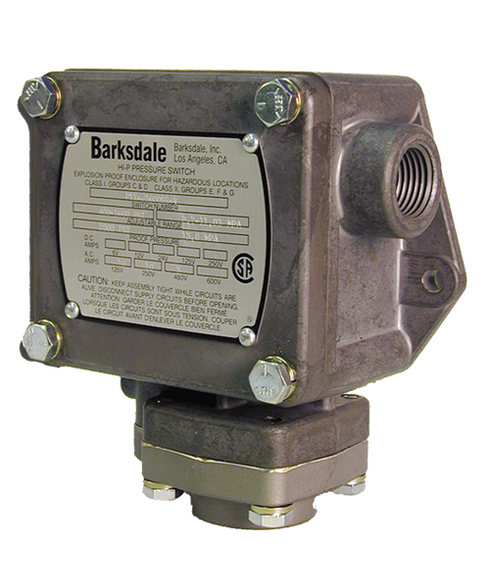 Barksdale Series P1X Explosion Proof Dia-seal Piston, Single Setpoint, 25 to 600 PSI, P1X-K600SS-T-P2