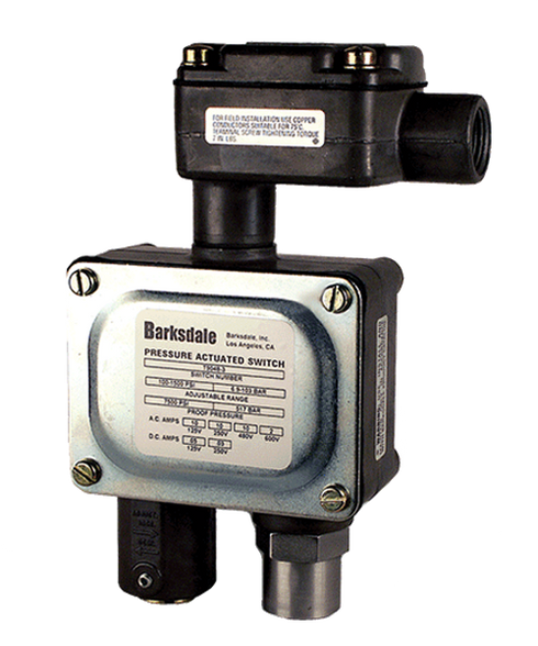 Barksdale Series 9048 Sealed Piston Pressure Switch, Housed, Single Setpoint, 100 to 1500 PSI, T9048-3-E