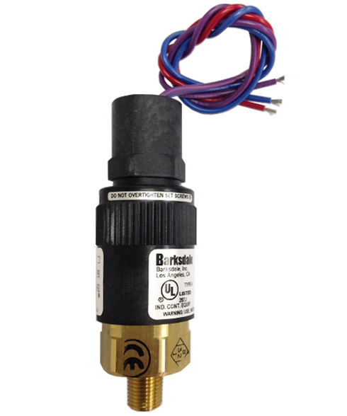 Barksdale Series 96201 Compact Pressure Switch, Single Setpoint, 190 to 600 PSI, T96201-BB1SST5VW60