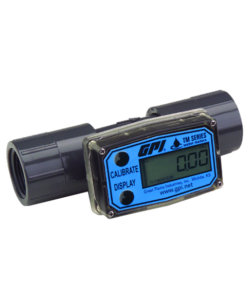 """GPI Flomec 1"""" NPTF PVC Water Meter With Local Display, 5 to 50 GPM, TM100-N"""
