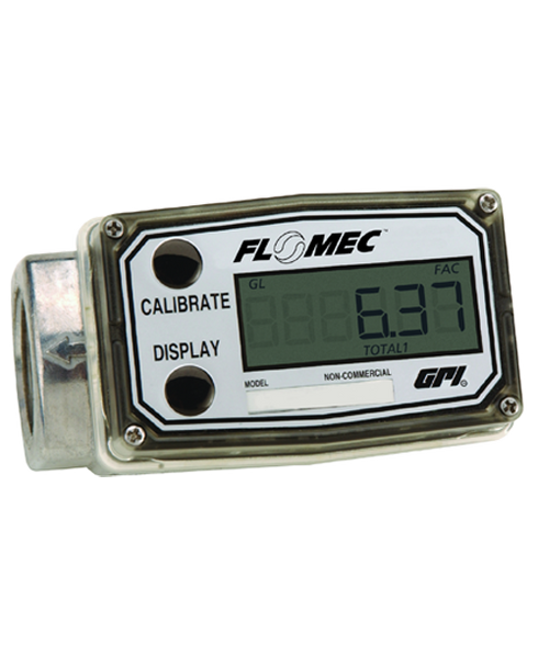 "GPI Flomec 1"" NPTF Low Flow Aluminum Turbine Meter With Local Display, 5 to 50 GPM, A109GMA100NA1"