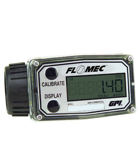 "GPI Flomec 1"" NPTF Low Flow Nylon Turbine Meter With Local Display, 5 to 50 GPM, A109GMN100NA1"