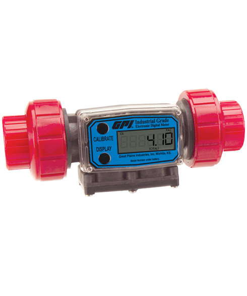 """GPI Flomec 1/2"""" NPTF PVDF Industrial Flow Meter, 1.2-12 GPM, G2P05N63GMC"""