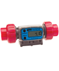 """GPI Flomec 1"""" NPTF PVDF Industrial Flow Meter, 5-50 GPM, G2P10N63GMC"""