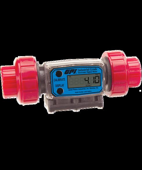 """GPI Flomec 1"""" NPTF PVDF Industrial Flow Meter, 5-50 GPM, G2P10N72XXC"""