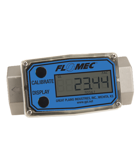 """GPI Flomec 3/4"""" NPTF Stainless Steel Turbine Meter With Local Display, 2 to 20 GPM, G2S07N09GMA"""