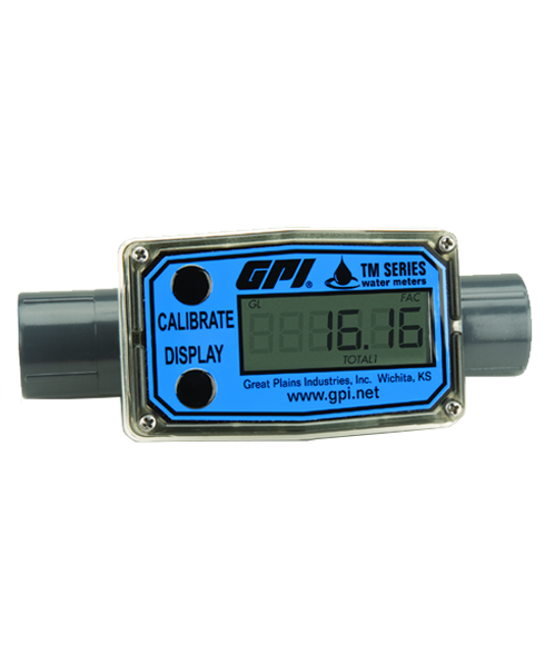 """GPI Flomec 1/2"""" NPTF PVC Water Meter With Local Display, 1 to 10 GPM, TM050-N"""