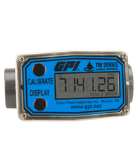 """GPI Flomec 1"""" Spigot PVC Water Meter With Local Display, 2 to 20 GPM, TM100"""