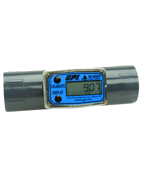 """GPI Flomec 1 1/2"""" BSPP PVC Water Meter With Local Display, 10 to 100 GPM, TM150-B"""