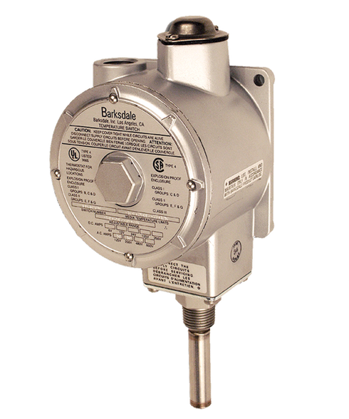 Barksdale L1X Series Explosion Proof Temperature Switch, Single Setpoint, -50 F to 200 F, HL1X-HH204S-WS-EX