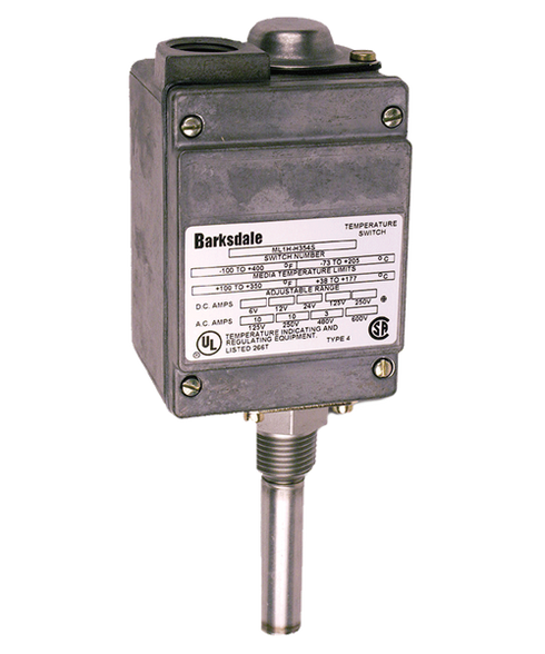 Barksdale ML1H Series Local Mount Temperature Switch, Single Setpoint, 75 F to 200 F, ML1H-GH203-W