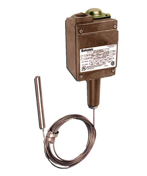 Barksdale T1H Series Remote Mount Temperature Switch, Single Setpoint, 50 F to 250 F, MT1H-GH251S-25A