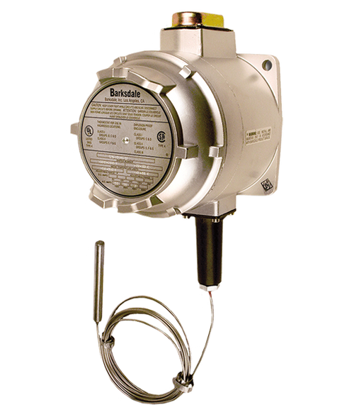 Barksdale T1X Series Explosion Proof Temperature Switch, Single Setpoint, 100 F to 225 F, T1X-B351S-12-A