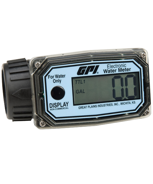 "GPI Flomec 1"" NPTF Nylon Digital Water Meter, 3-30 GPM, 01N31GM"