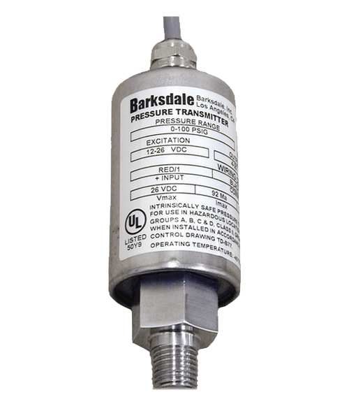 Barksdale Series 445 Intrinsically Safe Pressure Transducer, 0-100 PSI, 445H3-04-W72