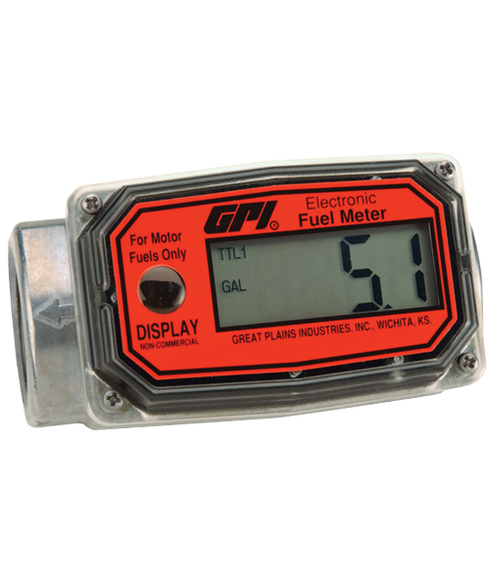 "GPI Flomec 1"" NPTF Aluminum Totalizer Only Fuel Meter, 3-30 GPM, 01A31GM"