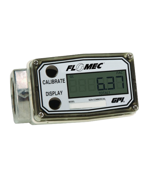 "GPI Flomec 1"" BSPTF Low Flow Aluminum Commercial Grade Electronic Digital Meter, 0.3-3 GPM, A109GMA025BA1"