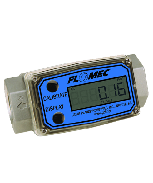 "GPI Flomec 1/2"" NPTF Aluminum Industrial Flow Meter, 1-10 GPM, G2A05N72XXC"