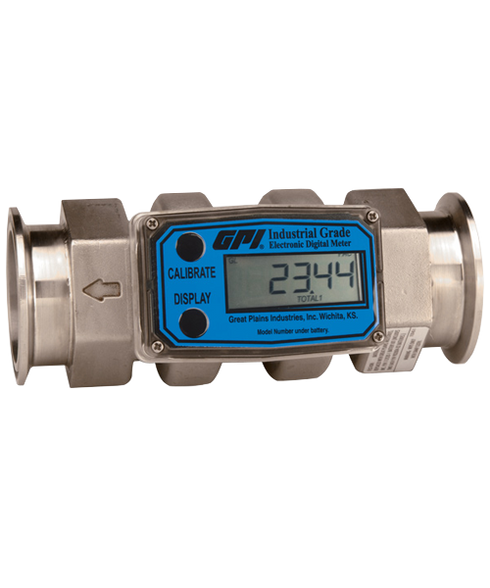 GPI Flomec Tri-Clover Stainless Steel Industrial Flow Meter, 20-200 GPM, G2S20T52GMC
