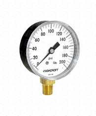 Ashcroft Type 1005 Commercial Pressure Gauge 0-200 PSI 35-W-1005-H-02L-200#