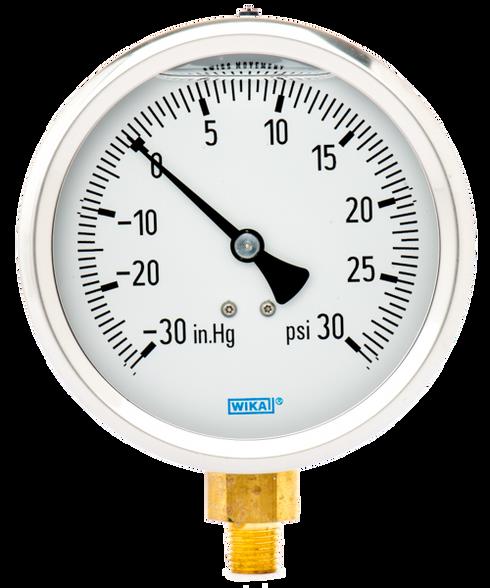 WIKA Type 213.53 Utility Pressure Gauge 0-30 in Hg Vacuum / 30 PSI 9699045