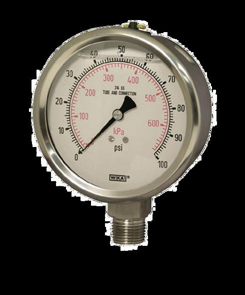 WIKA Type 232.53 Stainless Steel Industrial Gauge 0-30 in Hg Vacuum / 60 PSI 9768483