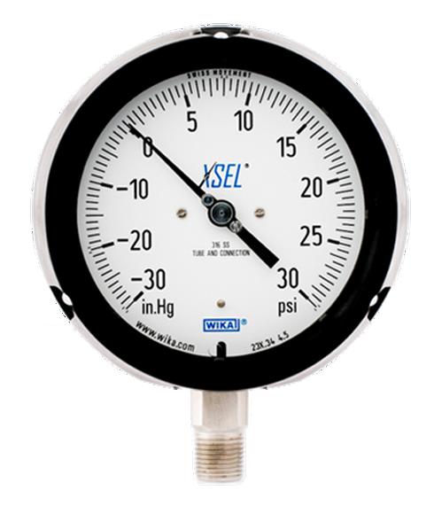 WIKA Type 232.34 XSEL Process Pressure Gauge 0-30 in Hg Vacuum / 30 PSI 9834745