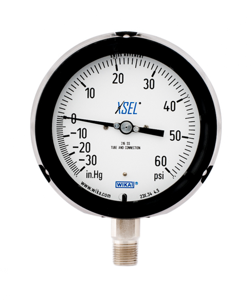 WIKA Type 232.34 XSEL Process Pressure Gauge 0-30 in Hg Vacuum / 60 PSI 9834753