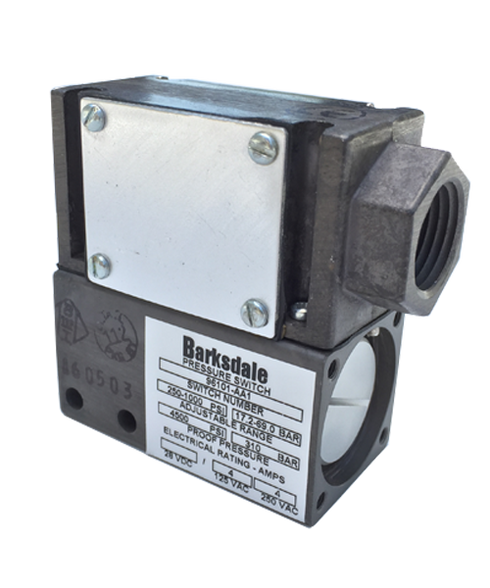 Barksdale Series 96101 Sealed Piston Pressure Switch, Single Setpoint, 800 to 3000 PSI, 96101-GH2