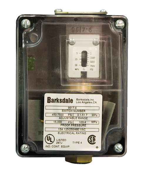 Barksdale Series 9617 Sealed Piston Pressure Switch, Housed, Single Setpoint, 450 to 7500 PSI, 9617-6