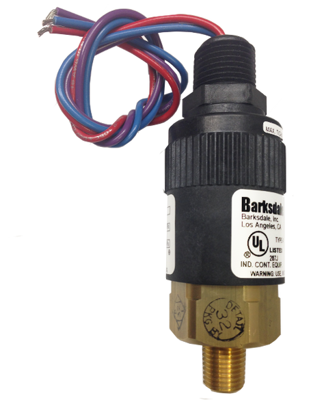 Barksdale Series 96221 Compact Pressure Switch, 1 to 30 In Hg Vacuum, 96221-BB1-T4