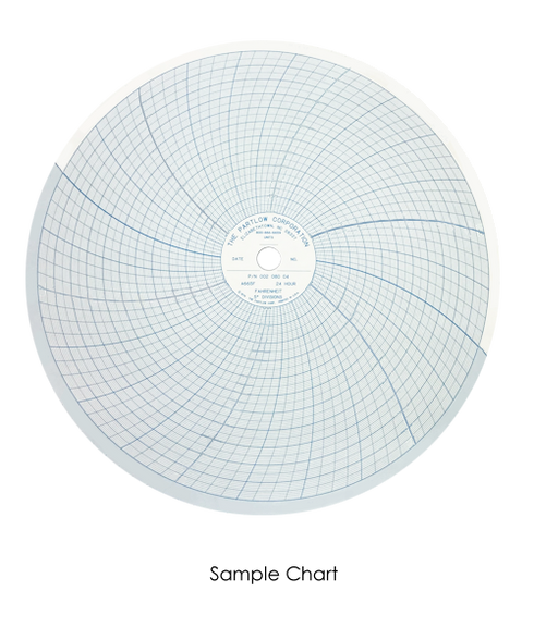 """Partlow Circular Chart, 10"""", 24 Hr, 0 to 2000, 20 divisions, Box of 100, 00213810"""