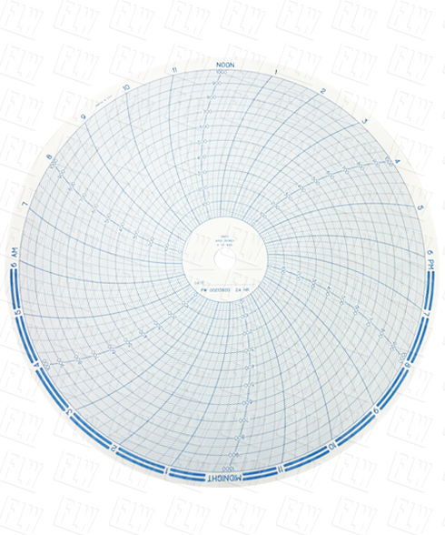 """Partlow Circular Chart, 10"""", 24 Hr, 0 to 1000, 10 divisions, Box of 100, 00213820"""