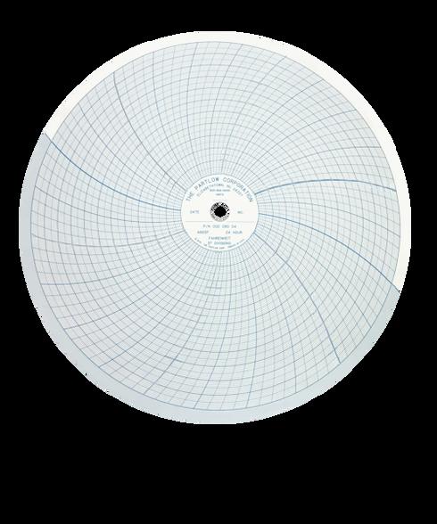 Partlow Circular Chart, -80-180 & 0-100, 24 Hr, Box of 100, 00214702
