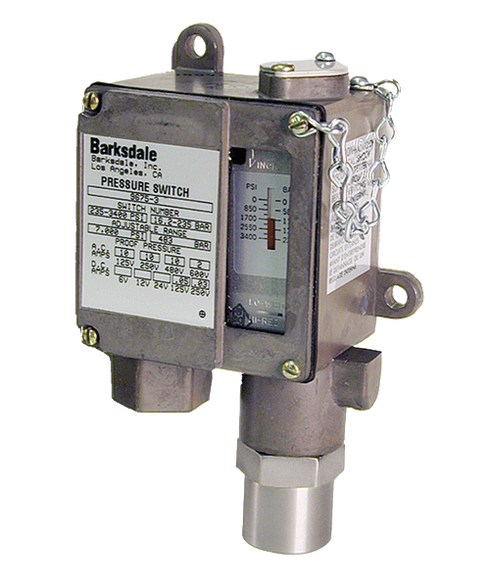 Barksdale Series 9675 Sealed Piston Pressure Switch, Housed, Single Setpoint, 100 to 1500 PSI, A9675-2-AA-V