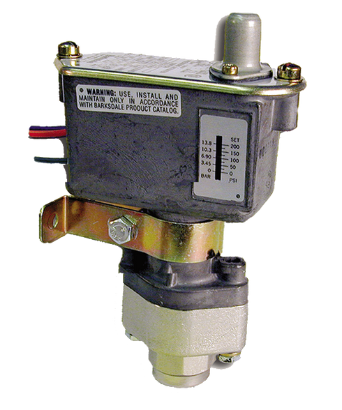 Barksdale Series C9612 Sealed Piston Pressure Switch, Housed, Single Setpoint, 125 to 1500 PSI, C9612-2-CS