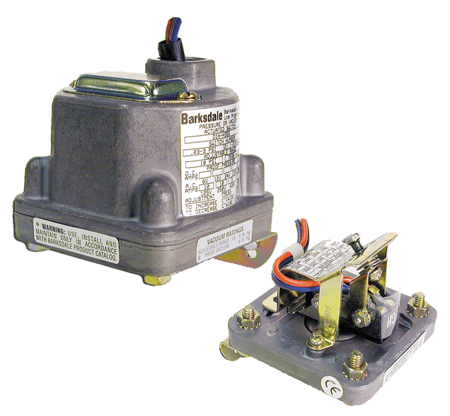 Barksdale Series D1H Diaphragm Pressure Switch, Housed, Single Setpoint, 0.4 to 18 PSI, D1H-H18SS