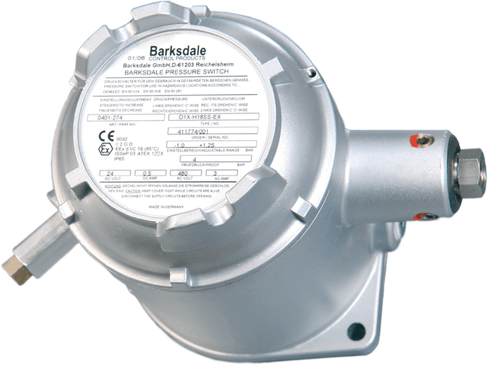 Barksdale Series D1X Explosion Proof Diaphragm Switch, Housed, Single Setpoint, 0.5 to 80 PSI, D1X-M80SS-EX