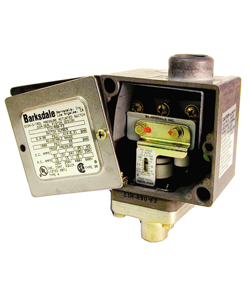 Barksdale Series E1H Dia-Seal Piston Pressure Switch, Housed, Single Setpoint, 3 to 90 PSI, E1H-G90-BR-RD-LC