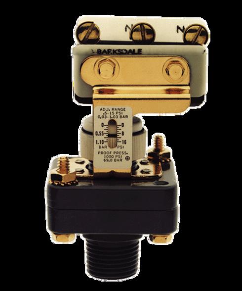 Barksdale Series E1S Dia-Seal Piston Pressure Switch, Stripped, Single Setpoint, 25 to 500 PSI, E1S-H500-F2