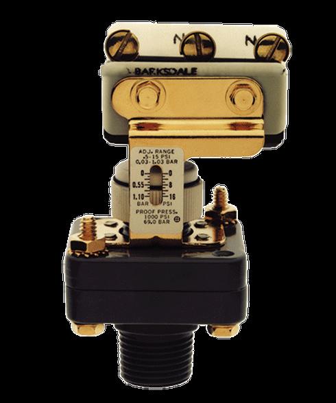 Barksdale Series E1S Dia-Seal Piston Pressure Switch, Stripped, Single Setpoint, 3 to 90 PSI, E1S-H90