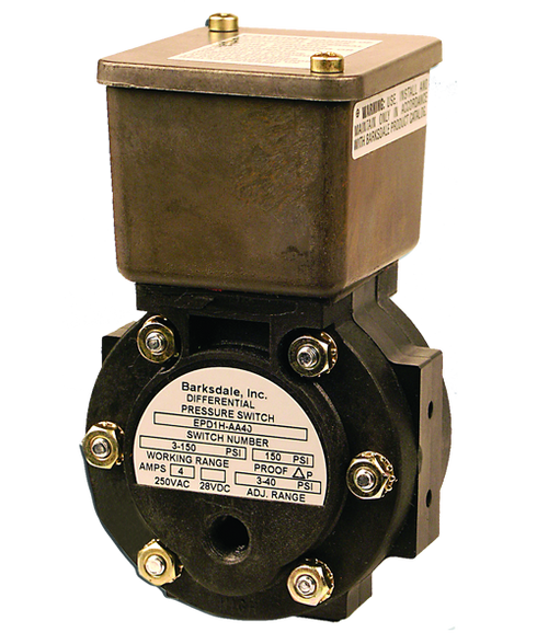 Barksdale Series EPD1H Differential Pressure Switch, Housed, Single Setpoint, 0.3 to 3 PSI, EPD1H-AA40-L1