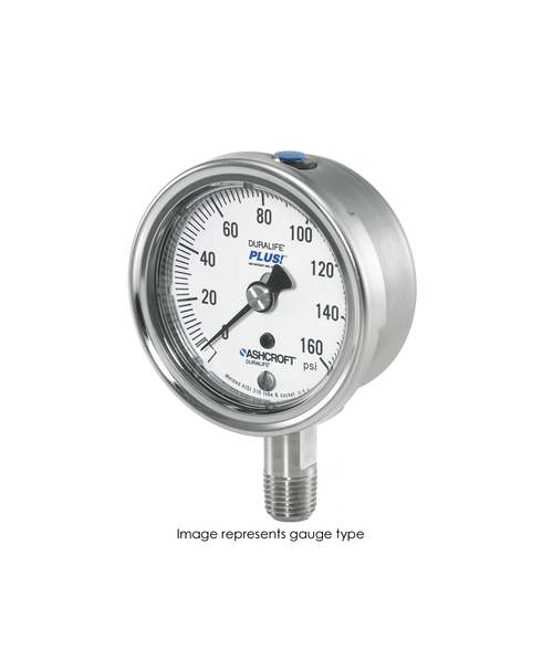Ashcroft Type 1009 Stainless Steel Duralife Pressure Gauge 0-300 PSI 25-1009-SW-02L-300#