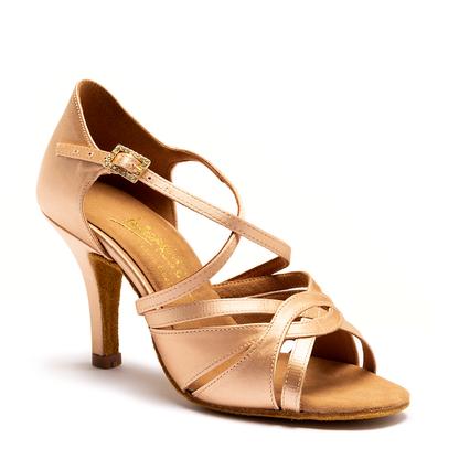 "Mia - Flesh Satin - Pictured on the 3"" Elite heel."